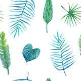 Seamless watercolor pattern of tropical leaves vector illustration