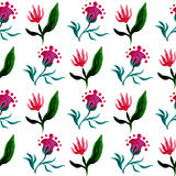 Seamless watercolor pattern with tulip and fantasy flower on white background. Watercolor vector illustration Stock Photos
