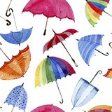 Seamless  watercolor pattern. Umbrellas on white background. Multicolors umbrellas on white background Royalty Free Stock Image