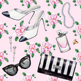 Seamless watercolor pattern with various female accessories. And flowers. High heel shoes, perfumes, earrings, rings, beads, sunglasses. Hand drawn accessories Stock Image