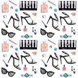 Seamless watercolor pattern with various female accessories Royalty Free Stock Photos