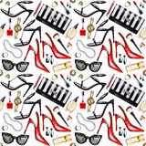 Seamless watercolor pattern with various female accessories Stock Image