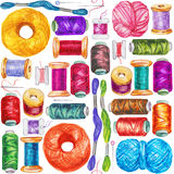 Seamless watercolor pattern of various sewing bobbins Stock Photography