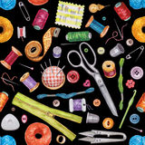 Seamless watercolor pattern of various sewing tools. Sewing kit