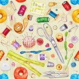 Seamless watercolor pattern of various sewing tools. Sewing kit Stock Photos