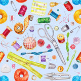 Seamless watercolor pattern of various sewing tools. Sewing kit Royalty Free Stock Images