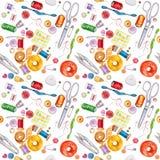 Seamless watercolor pattern of various sewing tools. Sewing kit Royalty Free Stock Photos