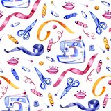 Seamless watercolor pattern of various sewing tools. Sewing kit, accessories and equipment for sewing. Scissors, buttons