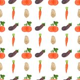 Seamless watercolor pattern with veggies on the Royalty Free Stock Photo