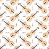 Seamless watercolor pattern with violin on the Royalty Free Stock Images