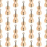Seamless watercolor pattern with violin on the Stock Photos