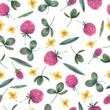 Seamless watercolor pattern of wild flowers stock illustration