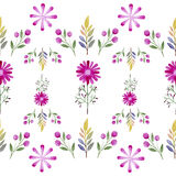 Seamless watercolor pattern of wildflowers Royalty Free Stock Photo