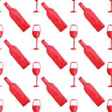 Seamless watercolor pattern with wine bottle and Royalty Free Stock Photo