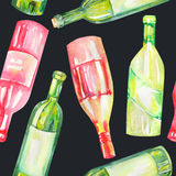A seamless watercolor pattern with the wine bottles. Painted on a black background. Stock Images