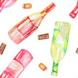 A seamless watercolor pattern with the wine (champagne) bottles and the wine corks. Painted on a white background. Royalty Free Stock Images