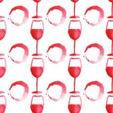 Seamless watercolor pattern with wine glass and Royalty Free Stock Photography
