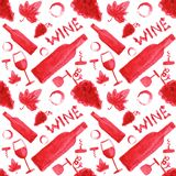 Seamless watercolor pattern with wine stuff on the Royalty Free Stock Photos