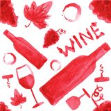 Seamless watercolor pattern with wine stuff on the Stock Images