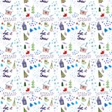 Seamless watercolor pattern for winter holidays decor stock illustration