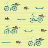 Seamless watercolor pattern witn bycicle and basket of vegetables stock illustration