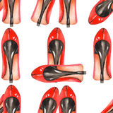 A seamless watercolor pattern with the women's red shoes on the heels. Stock Photos
