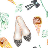 A seamless watercolor pattern with the women's romantic elements: ice cream, rose flower, bow and woman ballet shoes. Royalty Free Stock Image