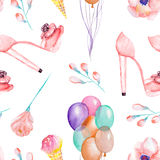 A seamless watercolor pattern with the women's romantic elements: pink ice cream, rose flower, air balloons and woman pink shoes o Stock Image