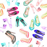 Seamless watercolor pattern with the women's shoes on the heels Royalty Free Stock Photos