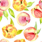 Seamless watercolor of peaches. Royalty Free Stock Photos