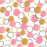 Seamless watercolor pink and golden bubbles pattern. Vector celebration background Vector Illustration