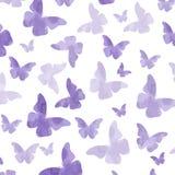 Seamless watercolor purple  butterflies pattern Royalty Free Stock Image