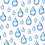Seamless watercolor rain pattern. Illustration on white background Stock Images