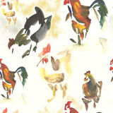 Seamless Watercolor Rooster Stock Images
