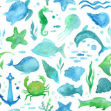 Seamless watercolor sea life pattern.