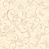 Seamless watercolor sketch pattern with coffee beans on beige background. Stock Photo