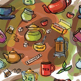 Seamless Watercolor sketch tea Royalty Free Stock Photography