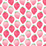 Seamless watercolor strawberry pattern. On white background Stock Photo