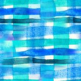 Seamless Watercolor striped print, blue drawing in a cage Royalty Free Stock Image
