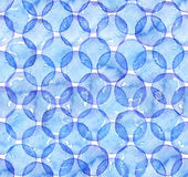 Seamless watercolor texture, based on blue hand drawn imperfect circles in a geometric repeating design. Square pattern, good for Royalty Free Stock Photos