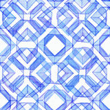 Seamless watercolor texture, based on blue hand drawn imperfect lines Royalty Free Stock Image