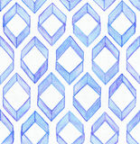 Seamless watercolor texture, based on blue hand drawn imperfect rhombus in a geometric repeating design.  Royalty Free Stock Photos