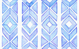Seamless watercolor texture, based on blue hand drawn imperfect shapes in a geometric repeating design. Beautiful pattern, good fo Stock Photo