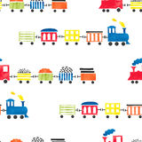 Seamless watercolor toy trains pattern. Stock Photography