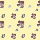 Seamless watercolor vintage floral pattern. Seamless hand drawn beautiful watercolor floral pattern with blue and purple flowers on yellow background royalty free illustration