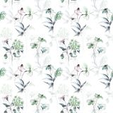 Wallpaper with stylized flowers. Seamless watercolor wallpaper with stylized flowers Royalty Free Stock Image