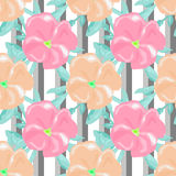 Seamless watercolors flowers pattern striped background Royalty Free Stock Images