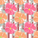 Seamless watercolors flowers pattern striped background Royalty Free Stock Photography