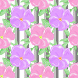 Seamless watercolors flowers pattern striped background Stock Photography