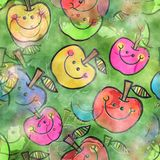 Seamless Watercolour Cartoon Doodle Apples. A seamless watercolour textile design with happy cartoon apples Royalty Free Stock Photos